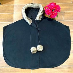 Black Faux Fur Hooded Pom Pom Poncho (One Size) 🌹